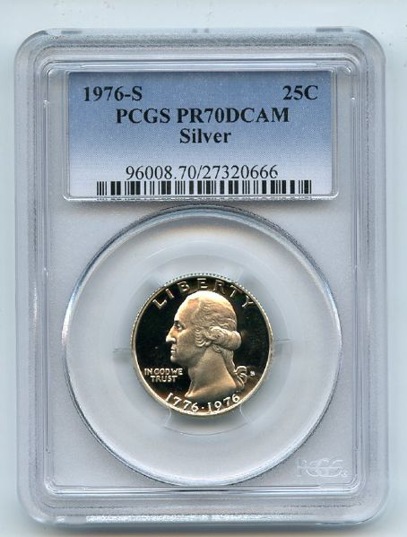 1976 S 25C Silver Washington Quarter Proof PCGS PR70DCAM