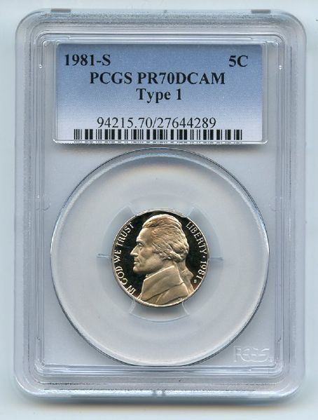 1981 S 5C Jefferson Nickel Proof PCGS PR70DCAM