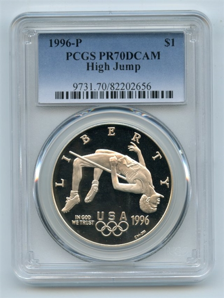 1996 P $1 High Jump Silver Commemorative Dollar PCGS PR70DCAM